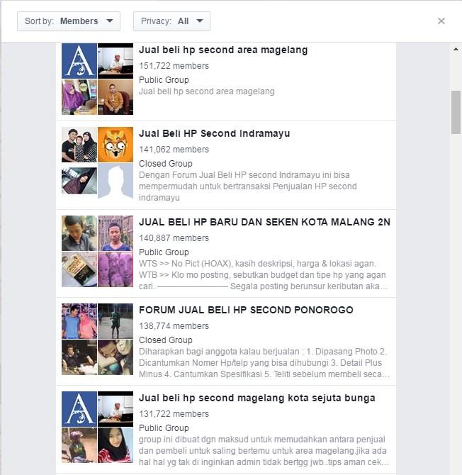group facebook tertarget