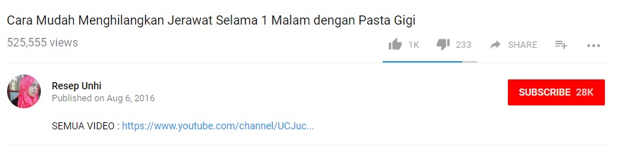 ara melihat hastag youtube