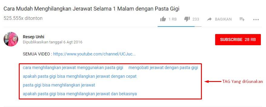 mengetahui tag youtube