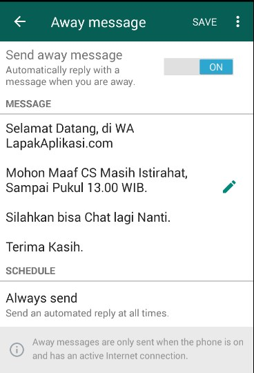 away message di whatsapp business