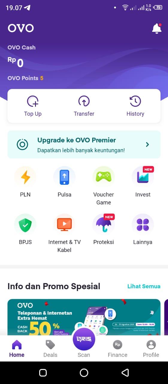 tampilan aplikasi ovo